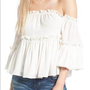J.O.A Ruffle Off the Shoulder Top